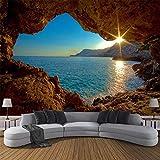 HOMEEN HD Tapete Individuelle Fototapete 3D-Höhle Sonnenaufgang Meer Natur Landschaft Große Wandbilder Wohnzimmer Sofa Schlafzimmer Kulisse Dekor-Tapete, 250x175 cm (98,4 nach 68,9 in)
