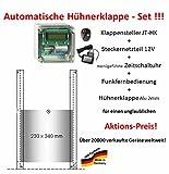 Automatische Hühnerklappe JT-HK+Steckernetzteil+Zeitschaltuhr+Funkfernbedienung+Klappe - Aktion vom Hersteller!