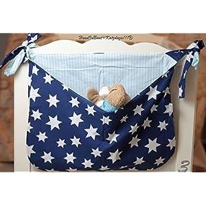 Betttasche Sterne blau, Utensilo, Laufstalltasche aus Baumwolle