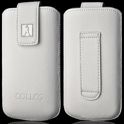 ORIGINAL COLLOS ALPINA WEISS WHITE M LG L5-2 DUAL E455 / LG E400 OPTIMUS L3 HANDYTASCHE TASCHE ETUI SLIM CASE / inkl. GÜRTELSCHLAUFE / inkl. RÜCKZIEHFUNKTION EASYOUT PULLSTRIP / NEUE - Lg Oberschalen Optimus 2
