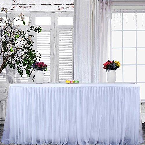 ckground Tüll Tischrock für Party, Hochzeit, Weihnachten, Geburtstagsfeier Dekoration, 9 Fuß (108 Zoll)