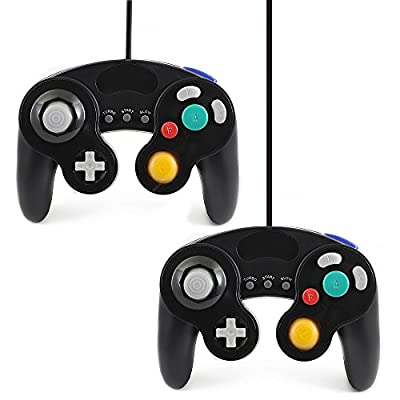 Qumox 2 X black wired classic controller joypad gamepad for nintendo gamecube gc & wii (Turbo Slow Feature) from QUMOX