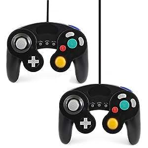 QUMOX 2 x Nero cablata Classico Controller Joypad Gamepad per Nintendo Gamecube GC e Wii (Turbo caratteristica lenta)