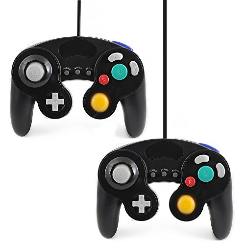 QUMOX 2x wired classic controller joypad gamepad für nintendo gamecube gc & Wii schwarz ( Turbo Slow Funktion )