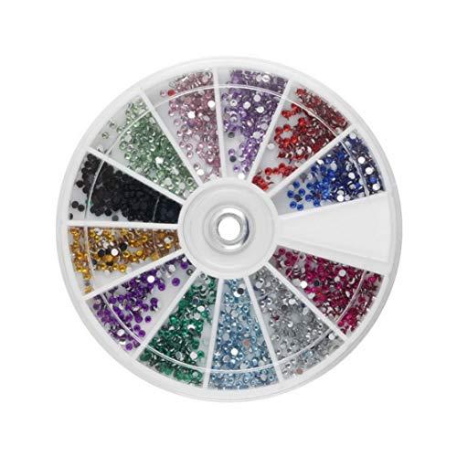 LouiseEvel215 12 Farben Neueste Nagel Dekoration Multicolor Nagel Dekoration Super Shiny 1,5mm 3600 stücke Nail Art 3D DIY Strass Dekoration (Nagellack Case Handy)