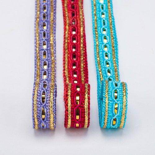 Neotrims Gold Metallic Band Braid Crafts trimmen von der Yard Online Wholesale. Deko Band mit Gold Folie, Crochet Typ Trim in 3tollen Farben. Satin Viskose und metallic Band