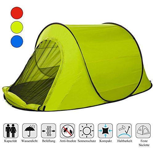 YUEBO Super Leicht Pop up Zelt, Campingzelt 1-2 Personen Outdoor Zelt, Trekkingzelt Wasserdichte, Zelt Sekunden-Setup für Festival Camping, 3 Jahreszeiten (Grün_1-2 Personen)