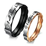 "Epinki Bijoux Alliance 2Pcs Acier Inoxydable Bandes de Mariage ""I Will Always Be With You"" Zircone Cubique Couple Anneaux Femme Taille 54 & Homme Taille 69"