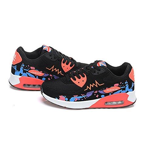 Peggie House Baskets Chaussures Jogging Course Gym Fitness Sport Lacet Sneakers Style Running Multicolore Respirante Femme Rouge Noir
