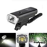 OUTERDO 600 Lumen LED Fahrradbeleuchtung wiederaufladbares Alulegierung-Fahrrad Frontlicht IPX4 wasserdicht Scheinwerfer leicht zu installieren und demontieren Schwarz