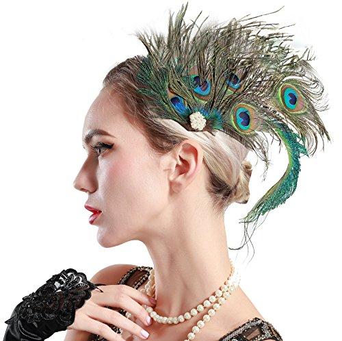 ArtiDeco 20er Jahre Flapper Pfau Feder Haarclips 1920s Damen Gatsby Kostüm Accessoires (Stil ()