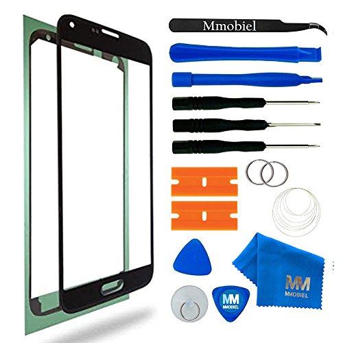 galaxy s5 glas MMOBIEL Front Glas Reparatur Set für Samsung Galaxy S5 G900 / S5 Neo G903M Series (Schwarz) Display Touchscreen mit 11 TLG. Werkzeug-Set inkl Klebe-Sticker/Pinzette / Saugnapf/Metall Draht/Tuch
