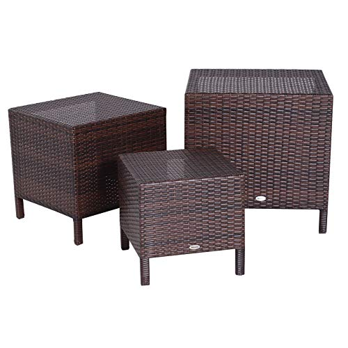 Outsunny Tables Basses gigognes de Jardin Style Cosy Chic Lot de 3 Tables Basses encastrables résine tressée Imitation rotin Marron