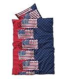 2 tlg Bettwäsche 135 x 200 cm USA Amerika blau Garnitur Reißverschluss