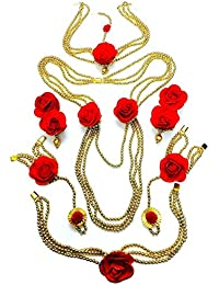 Floret Jewelry Red Golden Rose Flower Jewellery Set With Necklace, Earrings, Bracelets (7 Items) For Women & Girls