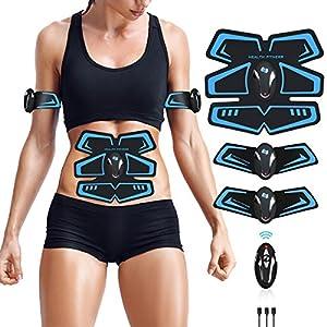 ZHENROG EMS Elektrische Muskelstimulation,Bauchmuskeltrainer,Muskelstimulator Elektrostimulation,Fettverbrennung Elektrostimulatoren für Herren Damen Geschenk,Massagegerät
