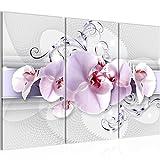 Bilder Blumen Orchidee Wandbild 120 x 80 cm - 3 Teilig Vlies - Leinwand Bild XXL Format Wandbilder Wohnzimmer Wohnung Deko Kunstdrucke Violett - MADE IN GERMANY - Fertig zum Aufhängen 007931a