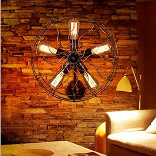 ZWW Retro Wandlampen-Ventilator-Wand-Lampen-Dorf-einfache kreative industrielle Ventilator-Wand-Lampe , A (Solar Wand-ventilator)