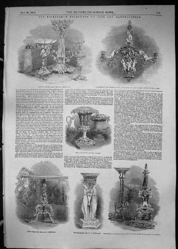 una-stampa-antica-della-tabella-dottone-1849-del-candeliere-del-piatto-dargento-di-birmingham-winfie