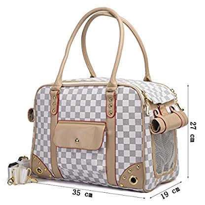 YiHao Lightweight PU Leather Pet Carrier Handbags Tote Bags for Dogs Cats Airline Approve Breathable Mesh Fashion… 5
