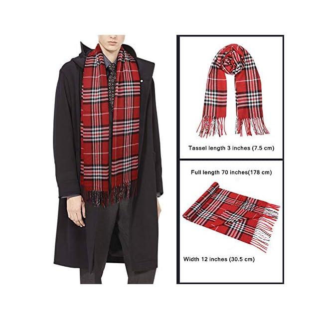 f15de7889742 ... Echarpe Homme - Plus Douce que le Cachemire Wool Touch - Echarpe Tartan  Homme Femme -. Vêtements   Jorlyen