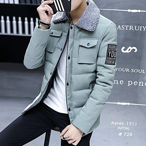 HHY-Winter dicken kurzen Absatz gepolsterte Mantel Jacke revers Männer, Erbsen grün, M (Erbse Mäntel Herren)