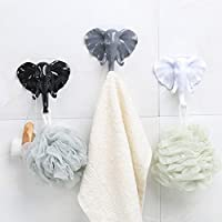 Sixcup Modern Elephant Towel Robe Hook Luxury Square Bathroom Accessory 3M Stick Hook Sticky Racks Hat Hook Hanger Heavy Duty Waterproof for Bathroom Lavatory Bedroom Closets Office (3M glue not included)