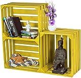 LAUBLUST 3er Set Sehr Große Vintage Holzkisten - 50x40x30cm, Gelb Lackiert, Unbenutzt | Möbel-Kiste | Wein-Kiste | Obst-Kiste | Apfel-Kiste | Deko-Kiste aus Holz