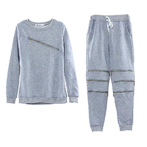 ullover Anzug Langärmeligen Lässigen Pullover Anzug Trendige Reißverschlus Pullover Anzug Grau XL (Grau-haut-anzug)