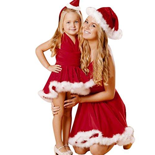 Baby bekleidung ❀❀ JYJM Kleinkind Kind Baby Weihnachten Kleidung Bandage Sleeveless Pageant Party Weihnachten Kleid (M, Rot) (Blütenblatt Bekleidung)