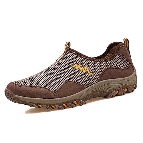 Unisex - Adultos Botas Simplesmente Caminhadas Deslizador De Malha Respirável Borracha Sola Grossa De Amortecimento Sapatos Ao Ar Livre Leve Marrom