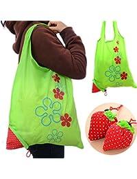 Designeez 1 Piece Eco Storage Handbag Strawberry Foldable Shopping Tote Reusable Bags Random Color (Random Send)