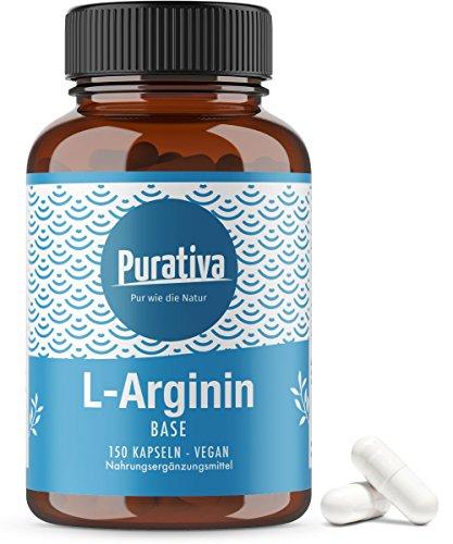 L-Arginin Base 3500, hochdosiert (150 Kapseln) - Arginin Base ist Arginin HCL überlegen (besserer pH Wert) - keine Zusätze - reinstes Arginin aus pflanzlicher Fermentation - Made in Germany