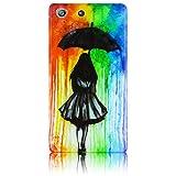 Sony Xperia M5 Silikon Schutz-Hülle Frau mit Regenschirm weiche Tasche Cover Case Bumper Etui Flip smartphone handy backcover