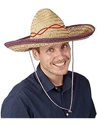 Relaxdays Sombrero Hut Stroh, Mexikohut, HxBxT: 18 x 44 x 48 cm, Strohhut geflochten, Kinnriemen, Mexiko Partyhut, beige