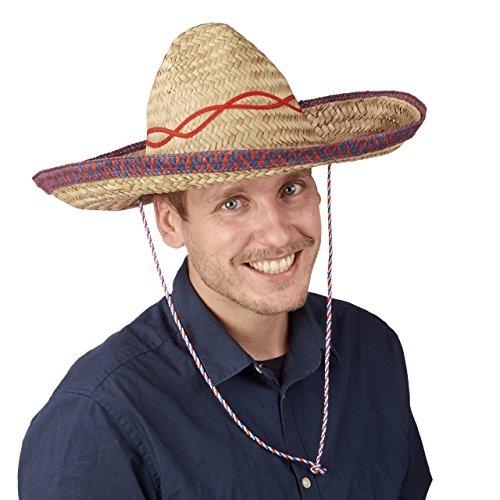 Relaxdays Sombrero Hut Stroh, Mexikohut, HxBxT: 18 x 44 x 48 cm, Strohhut geflochten, Kinnriemen, Mexiko Partyhut, (Männer Kostüme Frauen X)