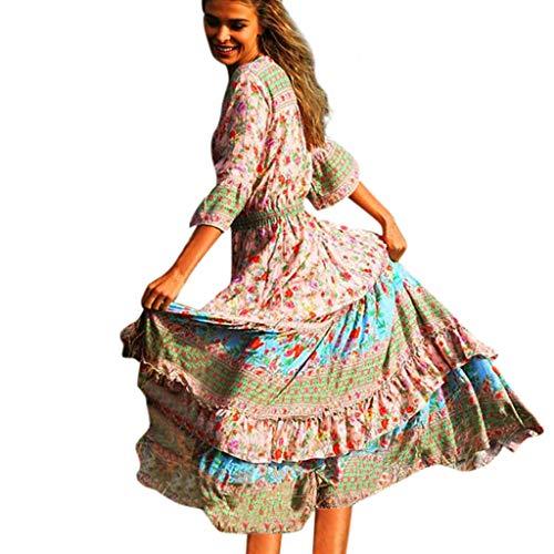 Rosennie Damen Sommerkleid Lang Kleider Maxikleid Lose Strandkleid Frauen Böhmische Gedruckte Taille Kleid Chiffon Strand Blumendruck Kleider Party Kleider Elegant -