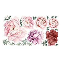 SUNNSEAN Peony Rose Flowers Wall Sticker Retro Watercolor Sticker Modern Home Art Decor Living Room Decal