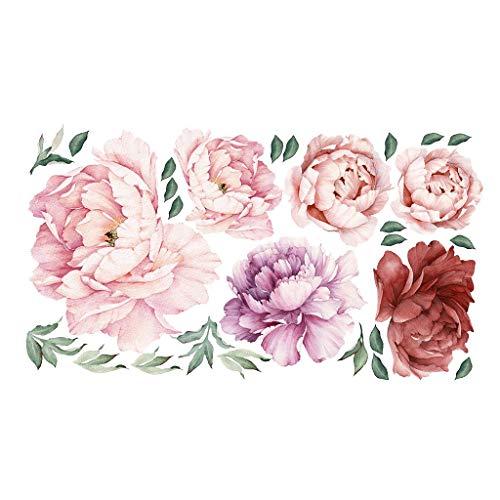 Wandtattoo Mädchen Pfingstrose Blume Luxuriöse Kunst Wandaufkleber DIY Stickerfliesen Wanddekoration Wallpaper Dekor für Wohnzimmer 2019 NEU VNEIRW (100 x 55cm) -