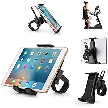AboveTEK Universal iPhone/ iPad Bicycle Mount - Secure, Portable Smartphone and Tablet Holder for Gym Exercise Bike Treadmill Handlebar - Flexible Cradle, 360° Rotation for Adjustable Viewing Angle