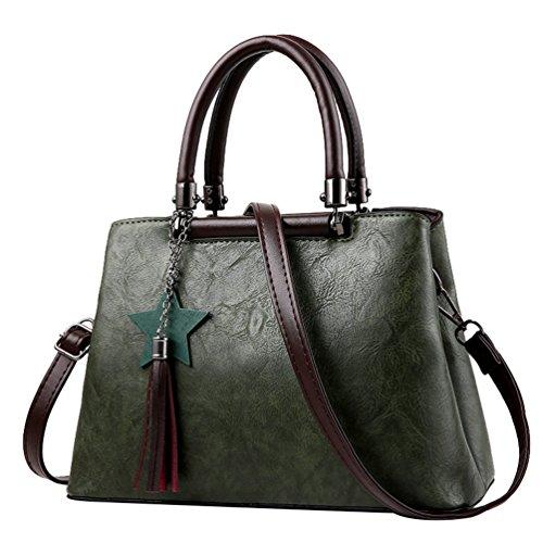 ad0f70be4823a Baymate Damen Umhängetasche PU Leder Einfach Handtasche Vintage Groß  Kapazität Schultertasche Grün