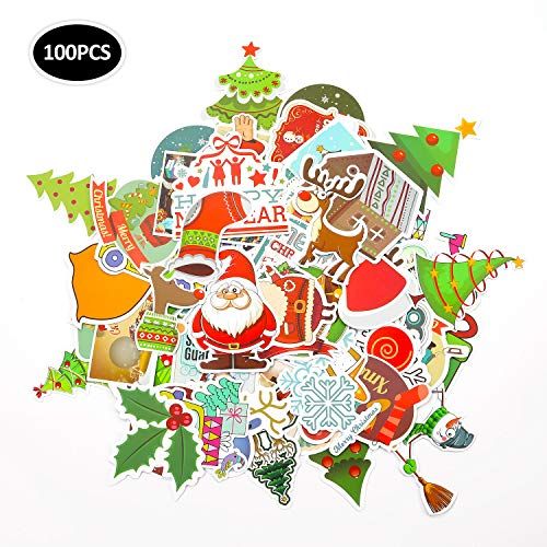 EKKONG 100 Stück Aufkleber Pack, 100 Anders Vinyl Christmas Sticker für Weihnachts, Wasserdicht Graffitti Decals für Auto Motorräder Fahrrad Skateboard Snowboard Gepäck Laptop Koffer Pad (100pcs) -