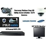 """Samsung 3x Dome, 3x Bullet Cameras, 8CH NVR 2TB et 19 """"CCTV Monitor - Full HD Full HD 1080P Kit Résistant au vandalisme et résistant aux intempéries"""