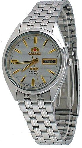 Orient #FEM0401PW de los hombres de la Tri-estrella de plata de la esfera del reloj automático AUTO estándar de bobinado