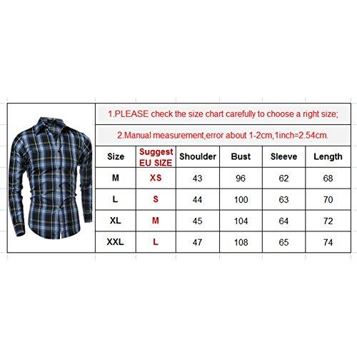 Juleya Uomo Casual Shirt - Uomo Cotone Camicia Shirt Plaid Camicia Slim Fit Manica Adatta Per Primavera Autunno Inverno XS-L Grigio - Bianco