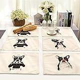 Manteles 6 piezas de algodón de la serie animal de la historieta y pintado a mano de lino aislamiento occidental de comidas Pad patrón sólido Perro Color de impresión coloreada para cocina y comedor