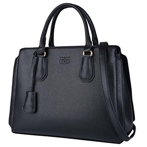 Handtasche Damen, COOFIT Shopper Handtasche Schwarz Elegant Schwarze Groß Damen Tasche Lederimitat Umhängetasche Designer Taschen Leder Handtasche(Schwarz)