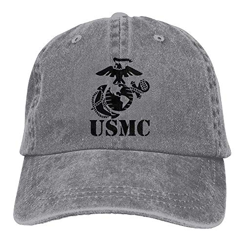 Hoswee Baseballmütze Hüte Kappe USMC Marine Corps Plain Adjustable Cowboy Cap Denim Hat for Women and Men -