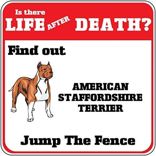 (American Staffordshire Terrier Hund leben nach dem Tod Jump Zaun Home Decor Metall Schild für Outdoor Yard Sicherheit Schild)