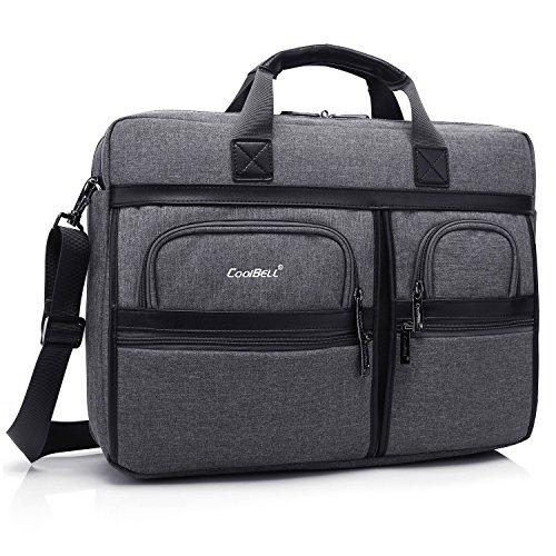 Laptop Aktentasche, CoolBell 17,3 Zoll schützend Messenger Bag Nylon Schultertasche Multifunktional Henkeltasche Laptop / Ultrabook / Tablet / Macbook / Dell / HP / Männer / Frauen / Geschäft (Grau)